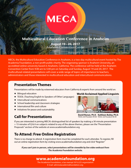Mulitcultural Education Conferenece in Anaheim (MECA) Flyer
